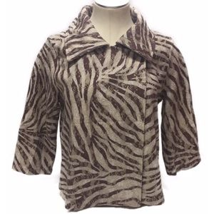 Chico's SZ 1 Shortie Jacket Zebra Lace Brown